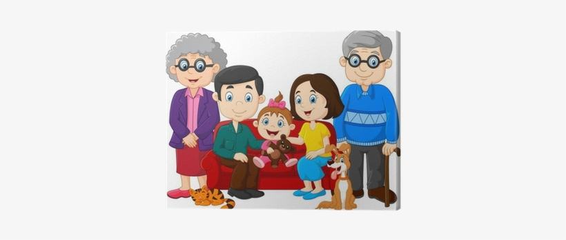 Cartoon Happy Family Isolated On White Background Canvas Family With Grandparents Clipart Transparent Png 400x400 Free Download On Nicepng