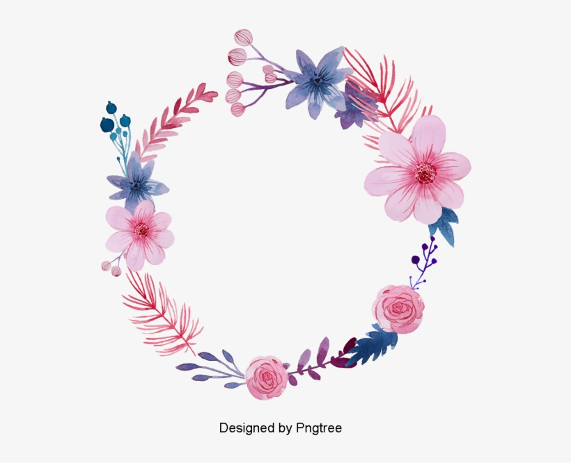 Beautiful Hand Paint Watercolor Floral Wreath Flower Flower