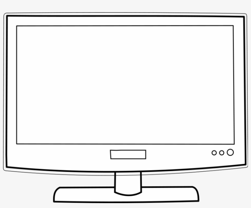 Tv black. Television and white clipart