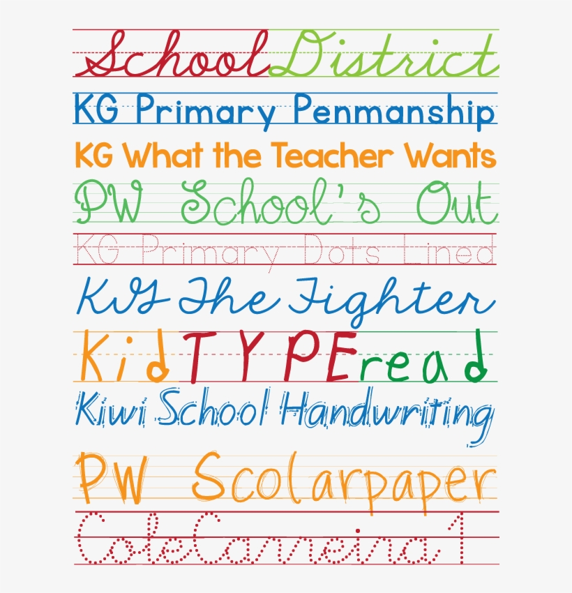 Favorite Free Fonts - Primary School Fonts Transparent PNG - 612x792