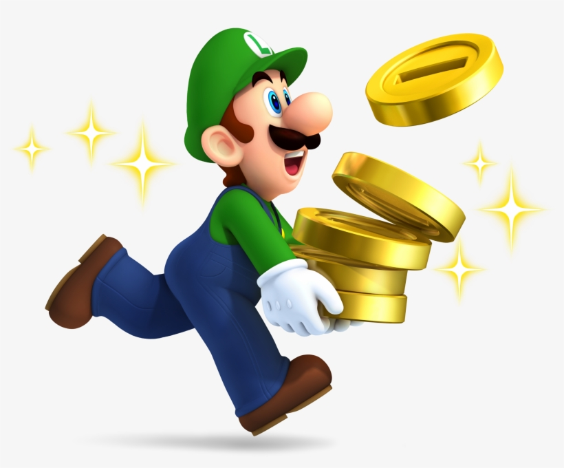 Luigi With Coins New Super Mario Brothers 2 Nintendo 3ds