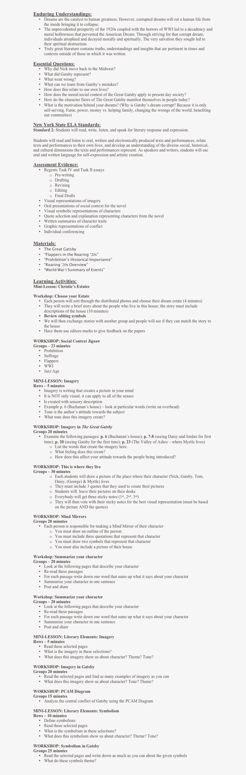 the great gatsby resume