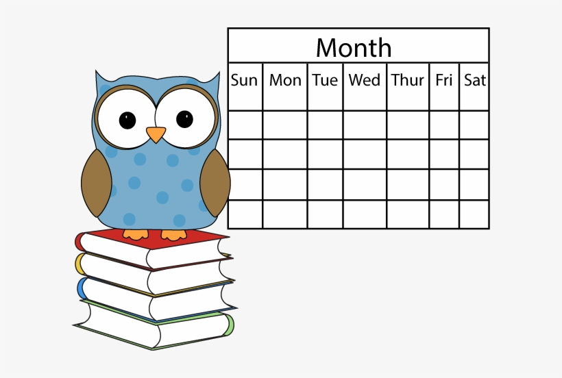 Polka Dot Owl With Calendar - Clip Art School Calendar Transparent PNG -  611x472 - Free Download on NicePNG