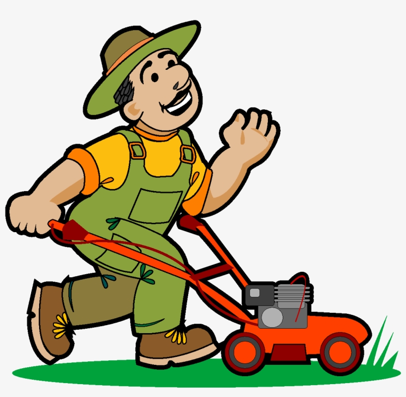 Happy Man Grooming The Lawn Vector Dibujo De Jardinero Podando