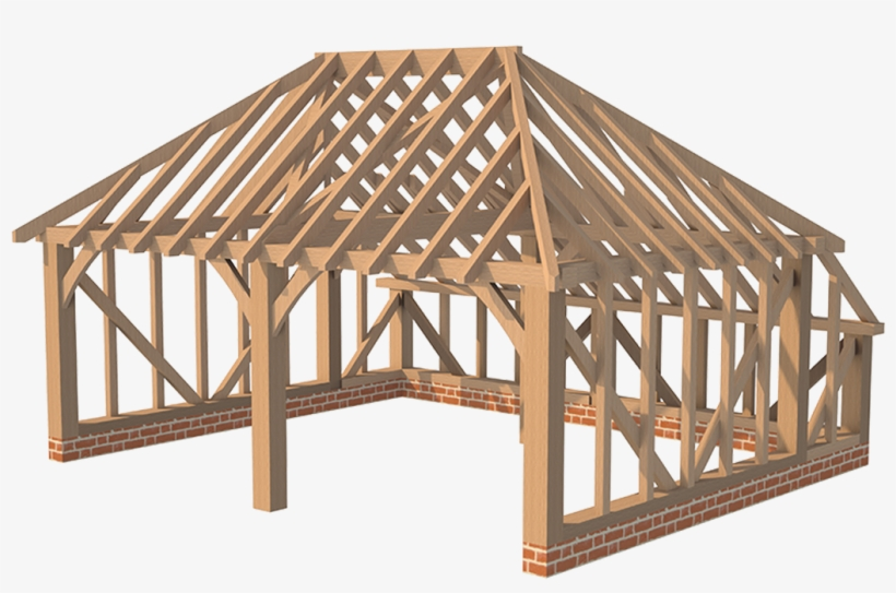 Double Garage Hipped Roof With Catslide Hertfordshire Timber Frame Hip Roof Transparent Png 1040x694 Free Download On Nicepng