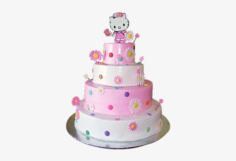 Stupendous Tiered Floral Hello Kitty Cake Birthday Cake For Girls Png Personalised Birthday Cards Cominlily Jamesorg