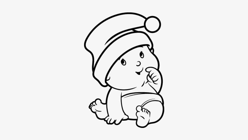 Dibujo De Bebé Con Gorro De Santa Claus Para Colorear - Imagenes De ...