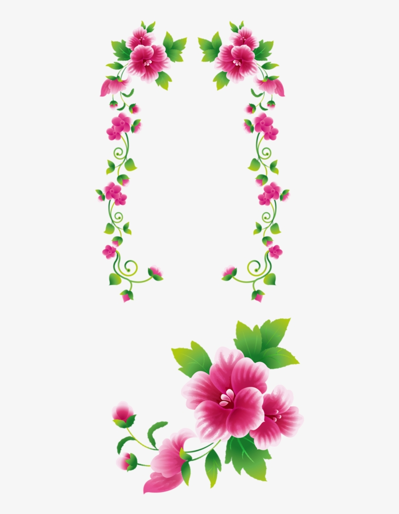Marcos Flores Png Clip Art Black And White Pink Flowers Clipart