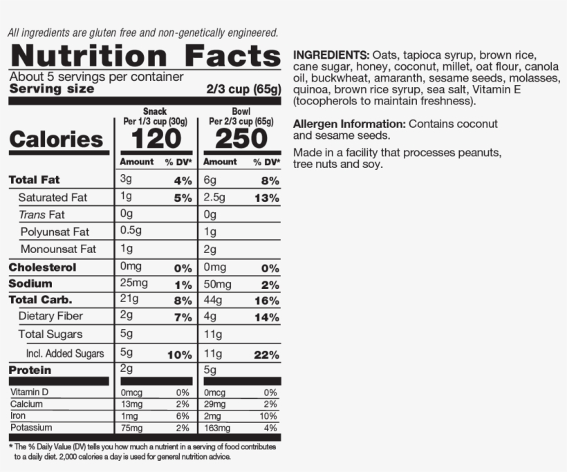 Oats Nutrition Facts - Campbell's