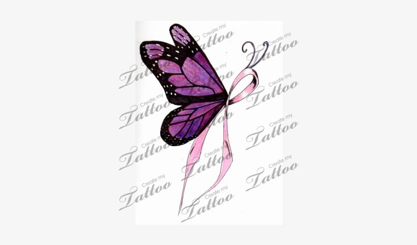 Cancer Ribbon Tattoo Designs Butterfly Ribbon Tattoo Designs