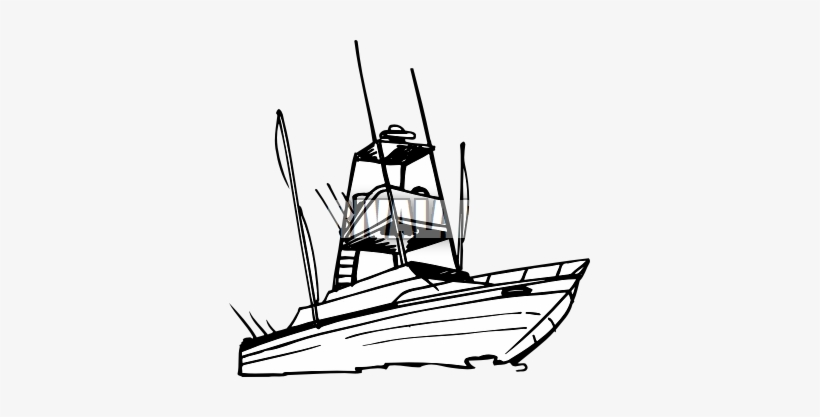 Drawn Yacht Fishing Boat Sport Fishing Boat Silhouette Transparent Png 361x337 Free Download On Nicepng