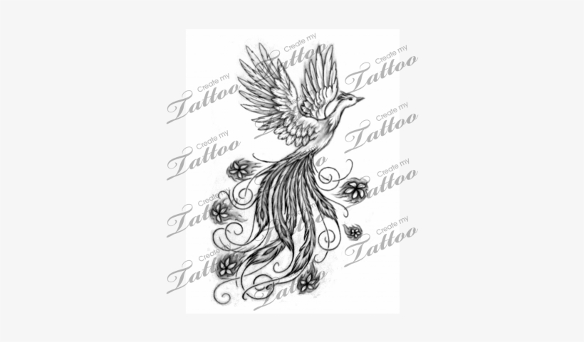Vector Royalty Free Phoenix With Flowers Tattoo Design - Phoenix ...