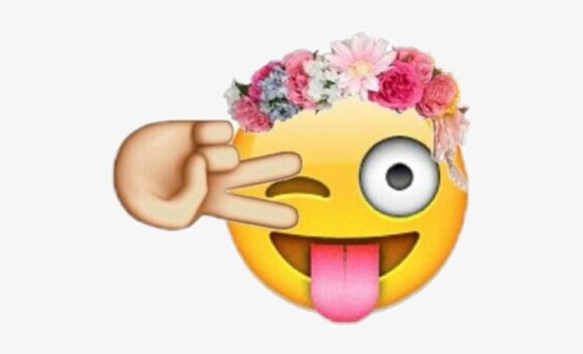 Corona Whatsapp Png - Wink Emoji Flower Crown Transparent PNG