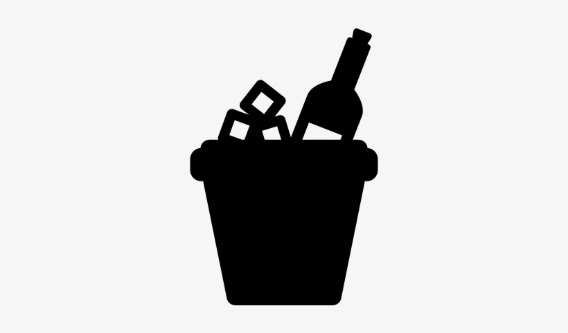 Ice Bucket And Bottle Of Wine Vector Beer Bucket Silhouette Png