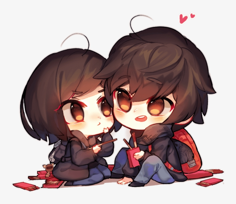Pocky Day By Magancito Cute Anime Chibi Couple Transparent Png 900x771 Free Download On Nicepng