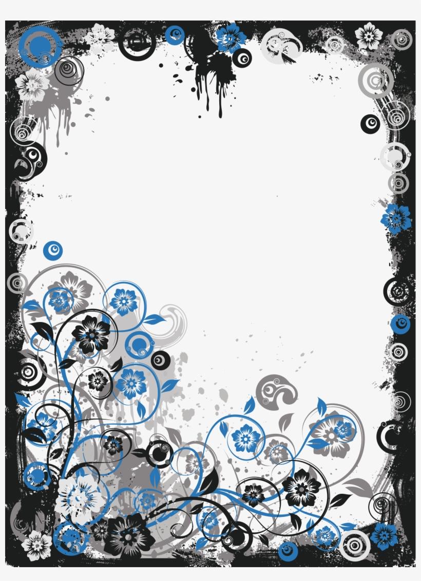 Black And Blue Modern Transparent Frame Border Design Black And