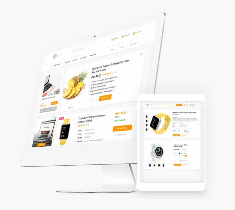 Ecommerce Html Template Components Uikit - Bootstrap Transparent PNG