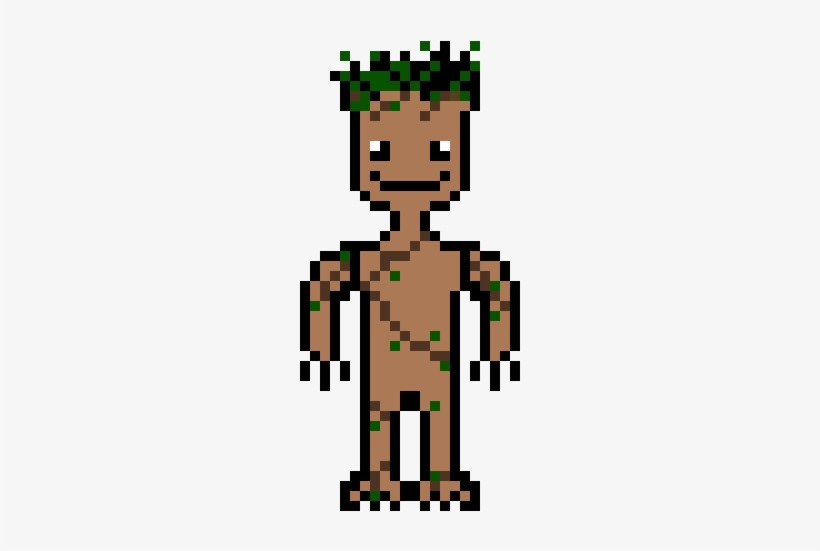 Baby Groot Pixel Art Transparent Png 240x510 Free
