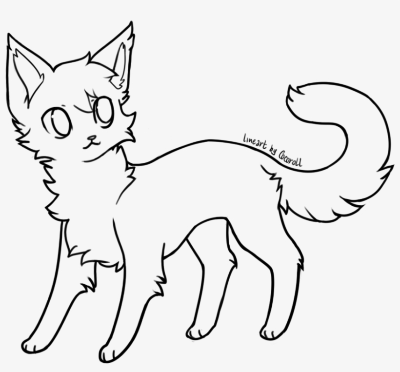 Cute Lineart Cat Base For Free Download Png Scared Warrior Cat