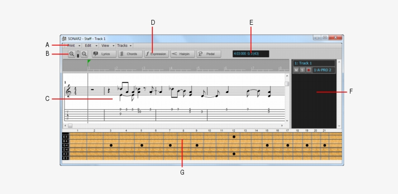 The Staff View - Cakewalk Sonar Music Notation Transparent