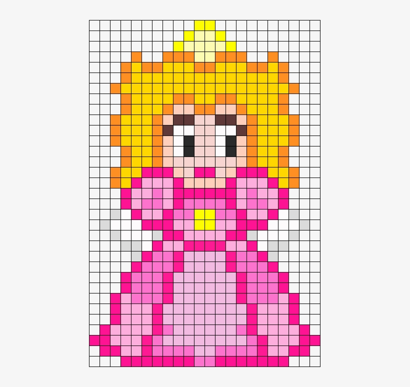 Princess Peach Perler Bead Pattern / Bead Sprite