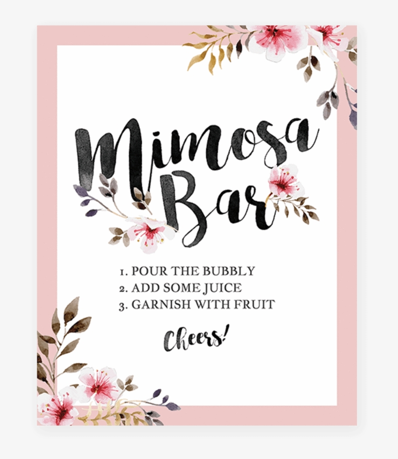 graphic regarding Baby Shower Signs Printable titled Blush Red Floral Mimosa Bar Signal Printable By way of Littlesizzle
