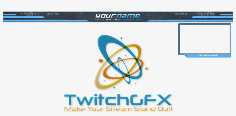 Cool Looking Grey-blue Free Twitch Overlay With Top - Best Stream