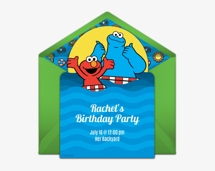 Elmo Cookie Monster Pool Party Online Invitation