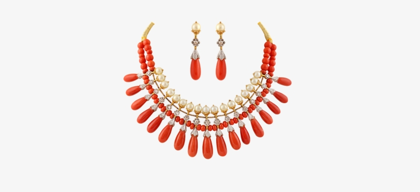 A Necklace Of Coral And Pearl In Nizami Design Traditional Coral
