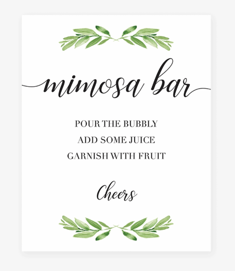picture about Free Printable Please Take One Sign called Printable Mimosa Bar Desk Indication For Greenery Themed - Favors