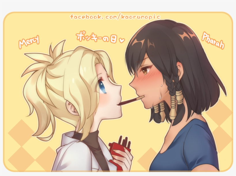 Anime Atobesakunolove Overwatch Pharah Mercy Pocky Overwatch Mercy Fanart Transparent Png 1800x1225 Free Download On Nicepng
