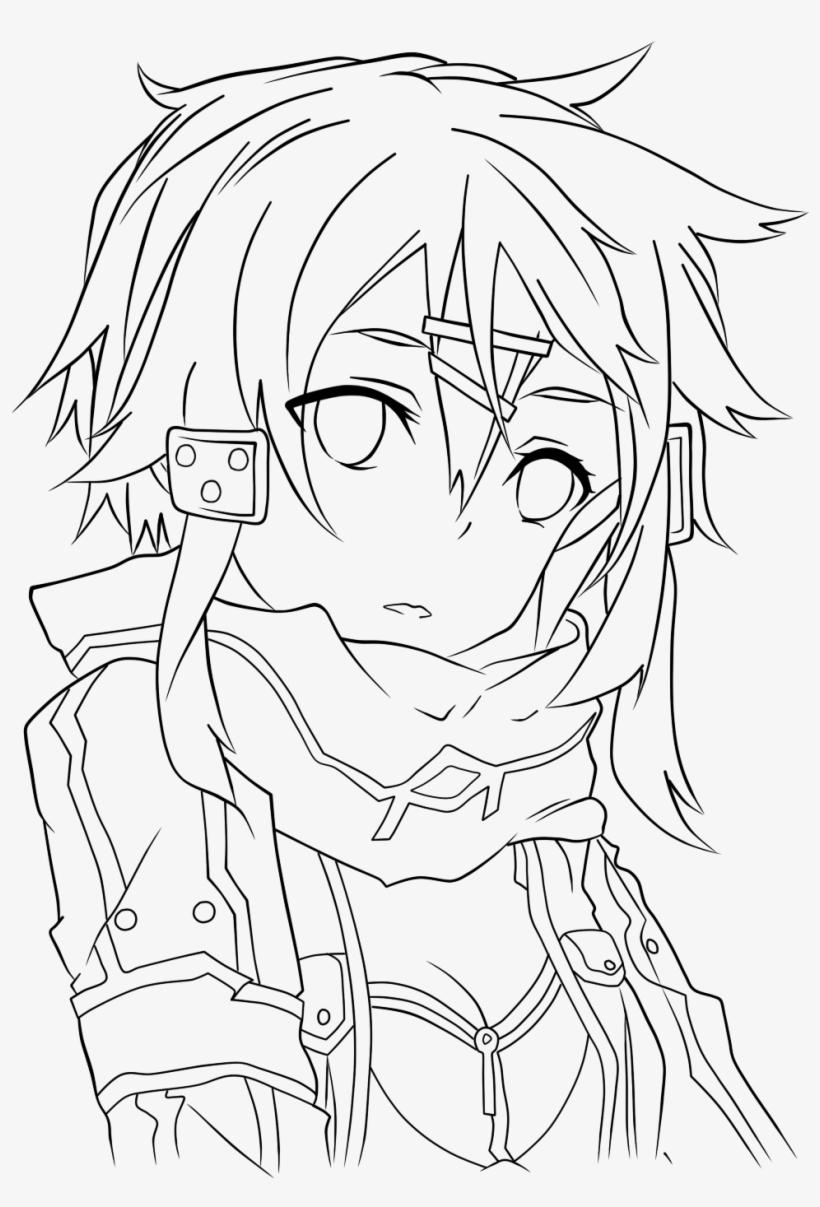 Sinon asuna line art kirito drawing sword art online to mau