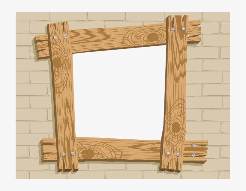 Wood photo frame psd