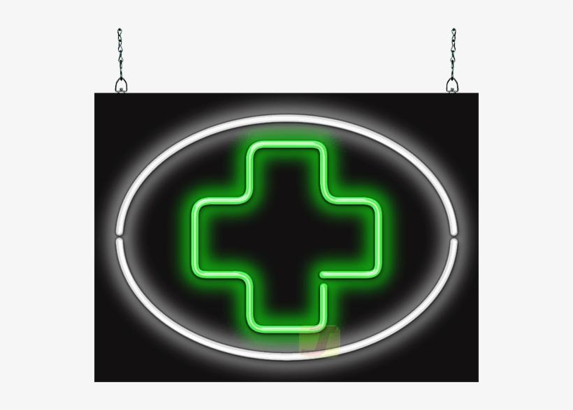 Medical Cross Inside Circle Neon Sign - Medicine Transparent