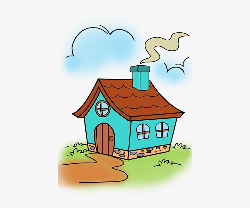 How To Draw A Cute House Cartoon Drawing Transparent Png