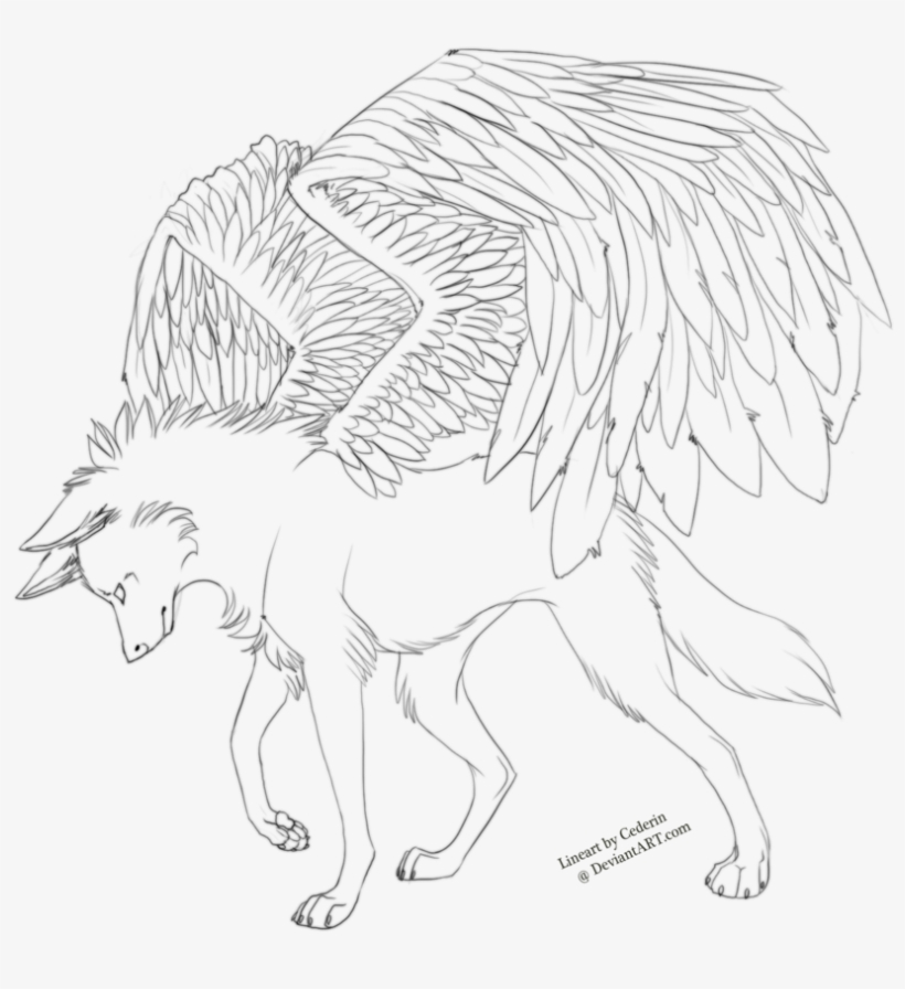 winged wolf coloring pages 25191 - wolf with wings lineart transparent png - 900x880