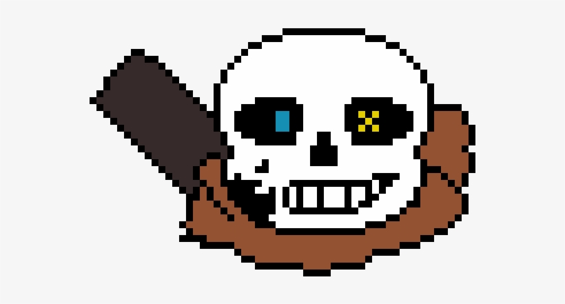 Ink Sans Head - Ink Sans Pixel Art Grid Transparent PNG - 670x470