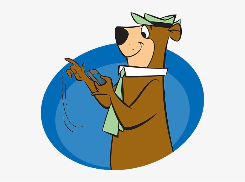 Yogi Bear On Phone Jellystone Yogi Bear Cartoons Transparent Png 600x600 Free Download On Nicepng
