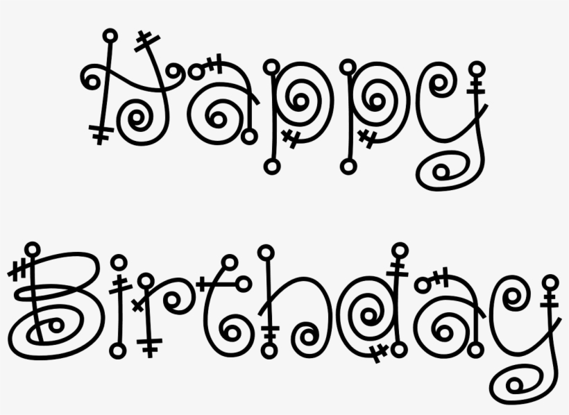 Wondrous Design Ideas Happy Birthday Outline With Mermaid Black And White Happy Birthday Clip Art Transparent Png 1294x881 Free Download On Nicepng