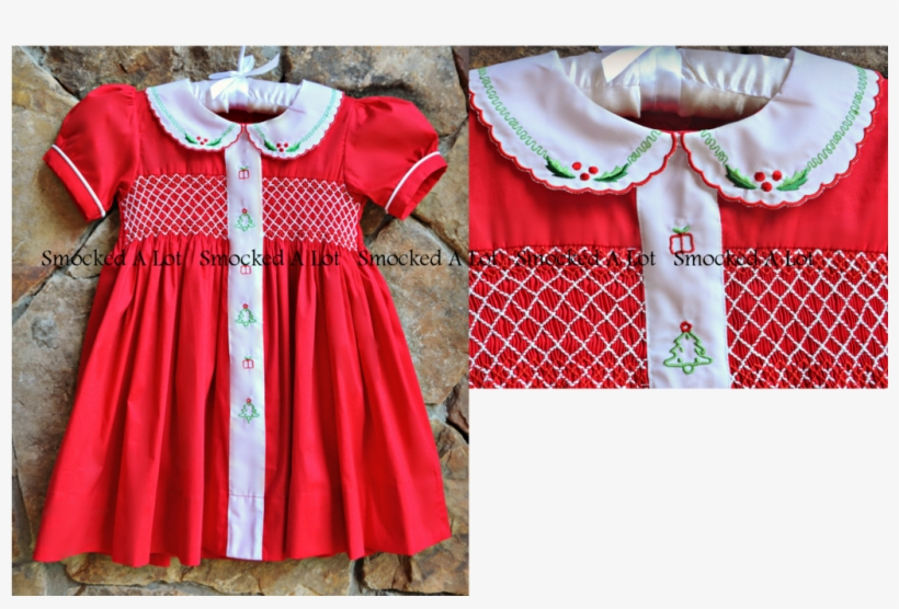Minnie Mouse Christmas Dress.Christmas Classic Red Hand Smocked Embroidered Dress