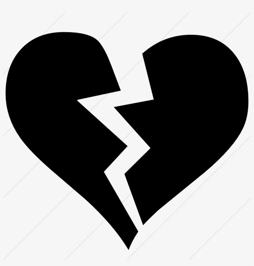 Broken Heart Clipart Emoji - Black Broken Heart Icon ...