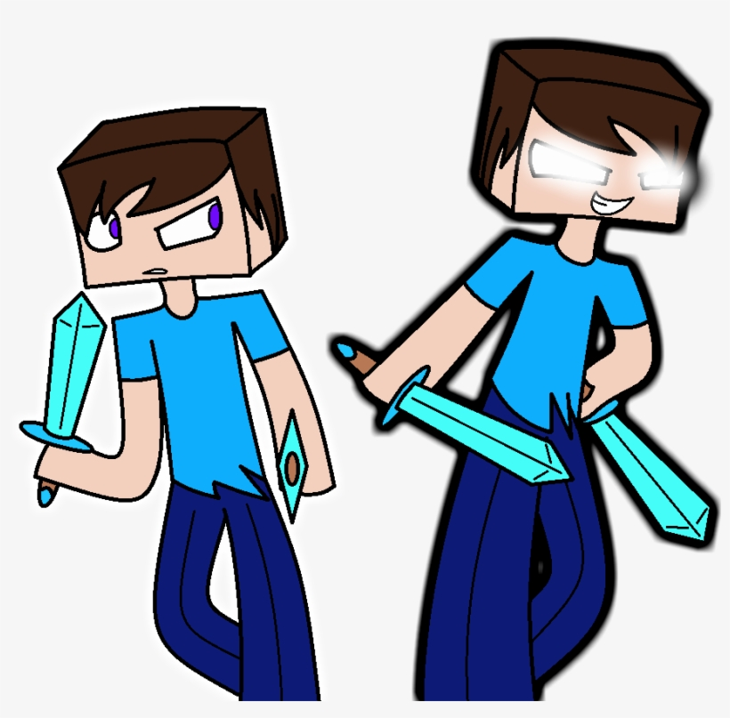 Minecraft Herobrine And Steve By Spectrumrarity Minecraft Png