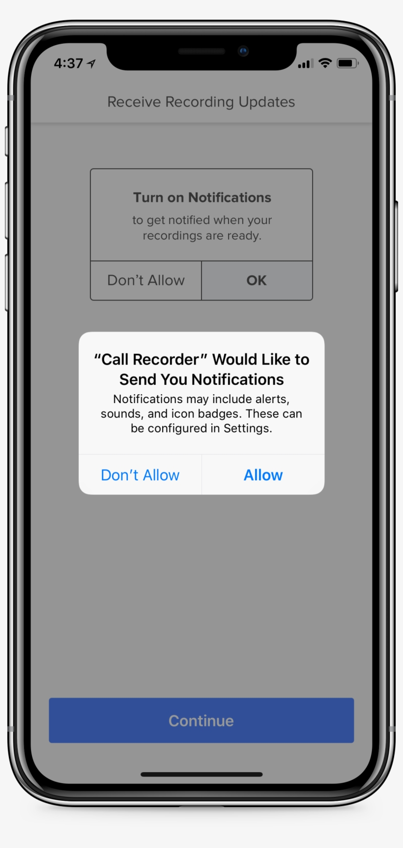Iphone Displaying Rev Call Recorder App And A Green - Add