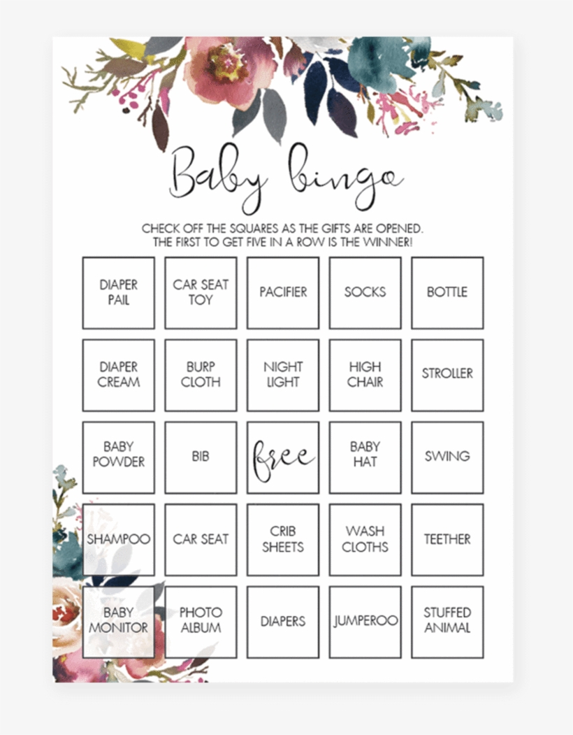 Boho Floral Baby Shower Baby Bingo Game Printable By Floral Baby Shower Game Printables Free Transparent Png 819x1024 Free Download On Nicepng