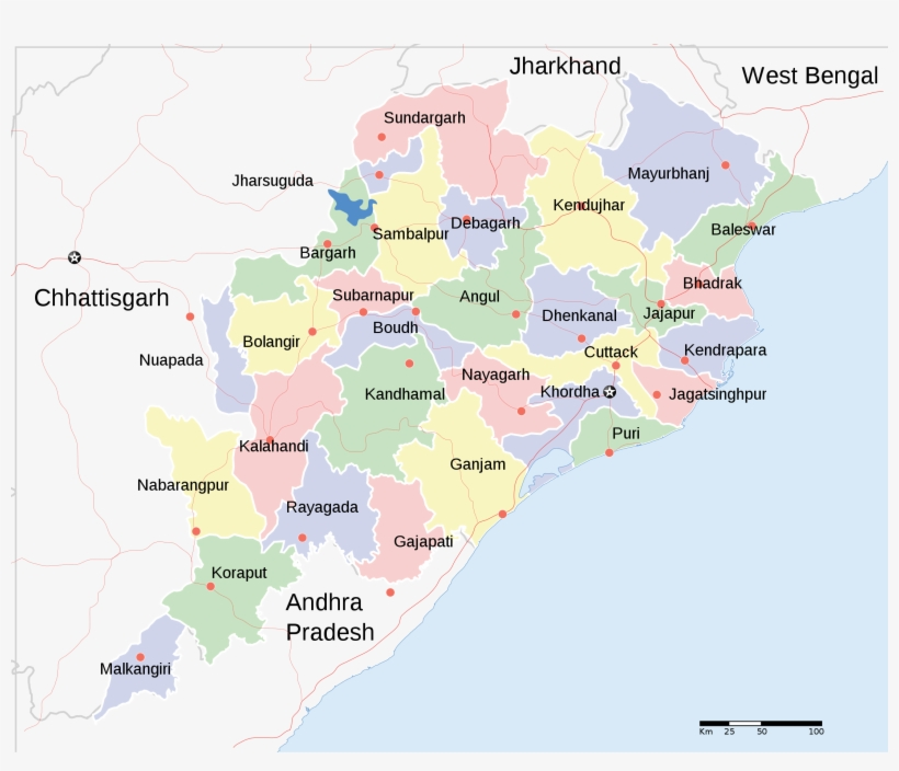 Orissa State Map - Districts Of Odisha Transparent PNG - 2184x1769