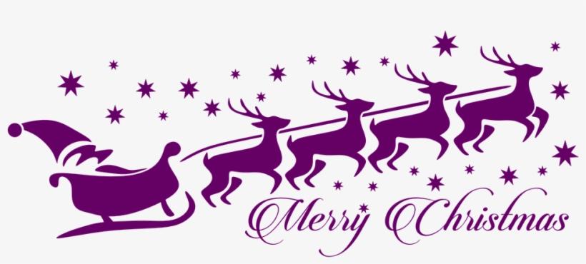 Download - Santa And Reindeer Outline@nicepng.com