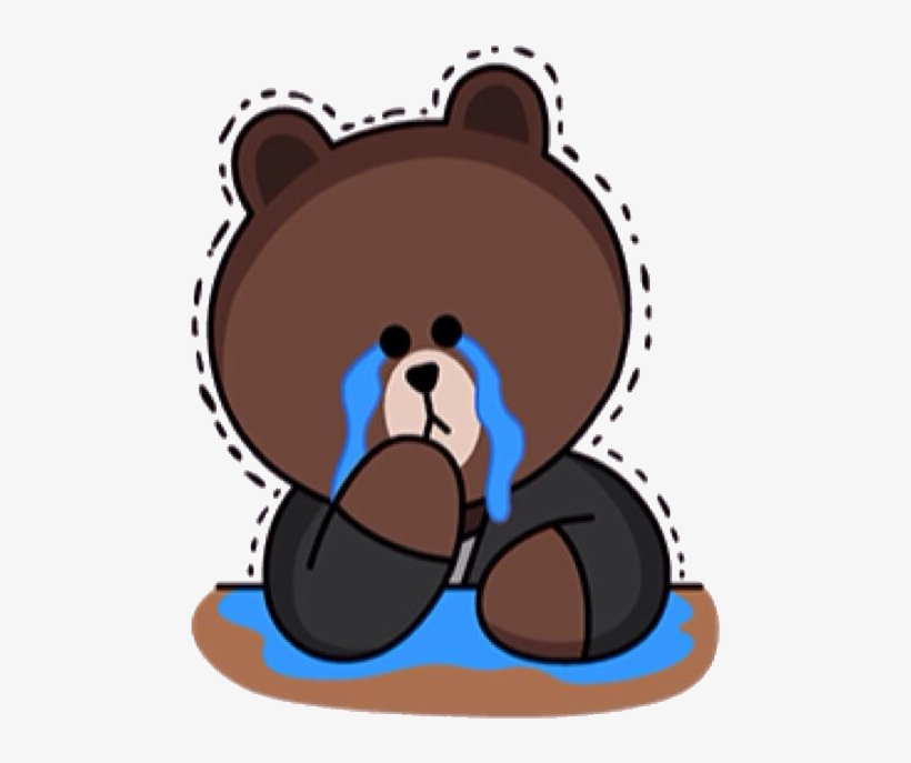 Cry-brown - Brown Bear Line Sticker Transparent PNG