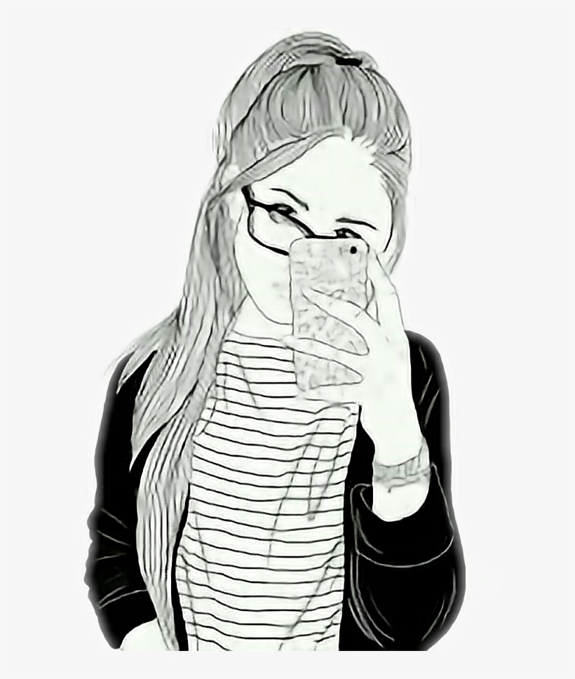 Tumblr Girl Selfie Drawing Girl With Starbucks Transparent Png