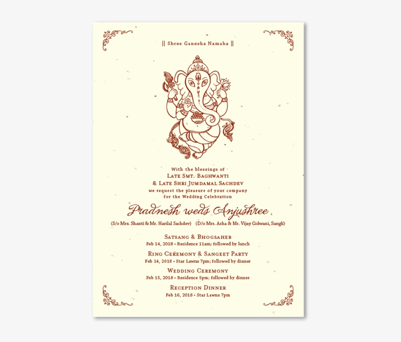Indian Wedding Invitations On Seeded Paper With Ganesha Wedding Satsang Invite Lines Transparent Png 670x670 Free Download On Nicepng