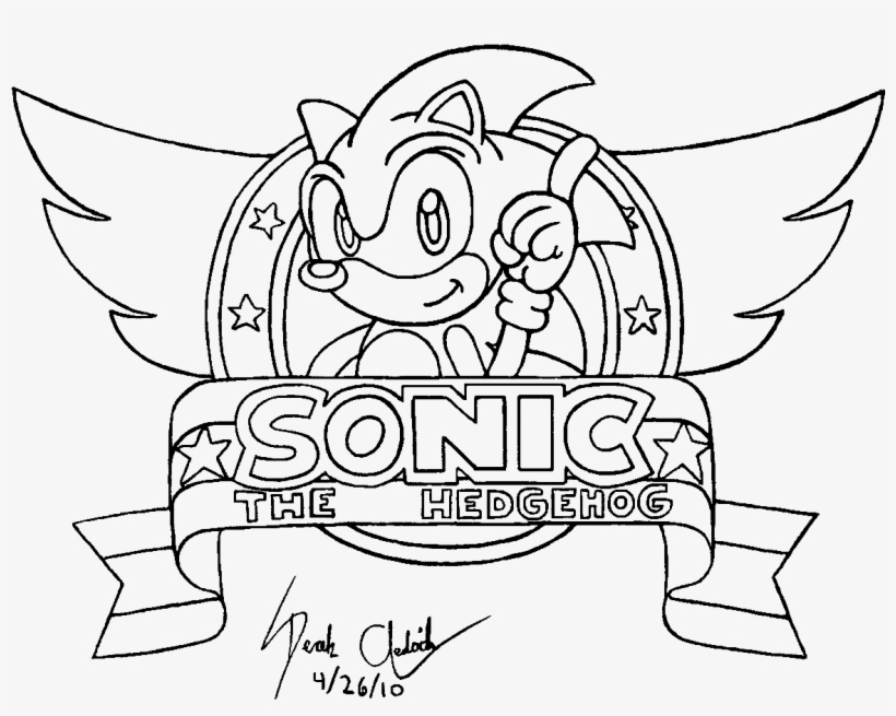 Sonic Logo Line Art - Dibujos De Sonic Para Colorear Transparent PNG ...